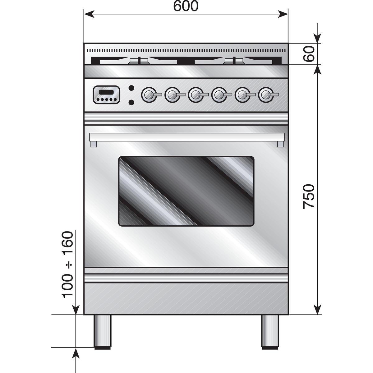 стандартные размеры газовой плиты