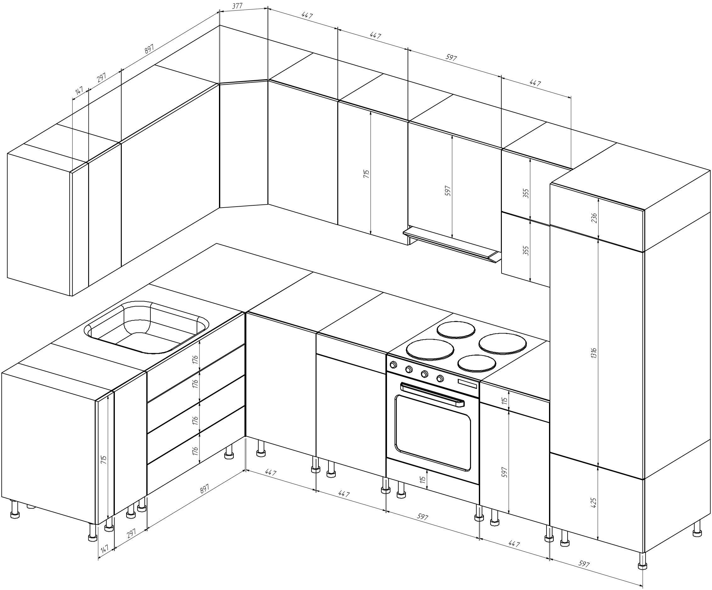 стандартные размеры шкафов для кухни