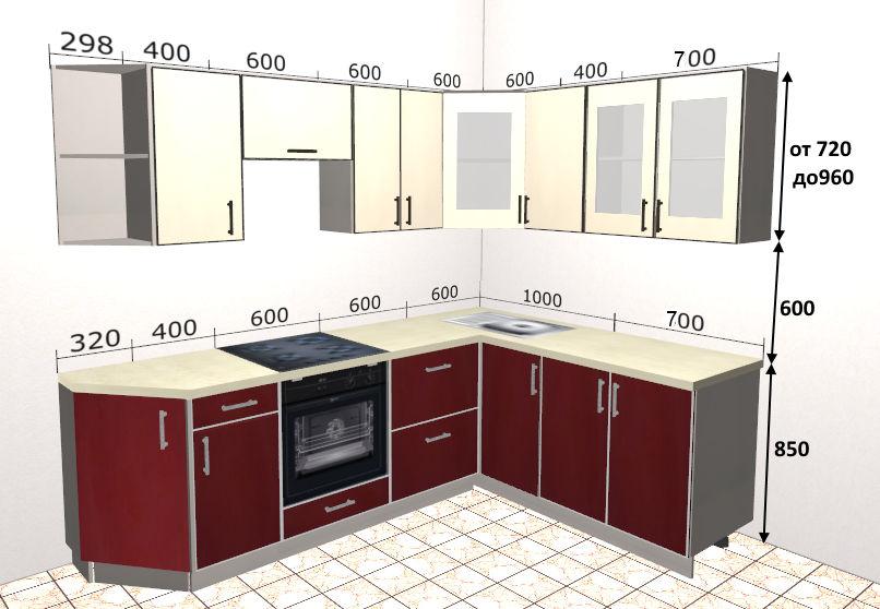 размеры шкафчиков для красивой угловой кухни
