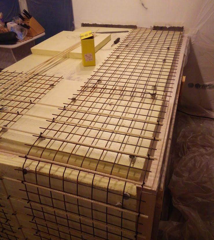армирующий каркас бетонной столешницы