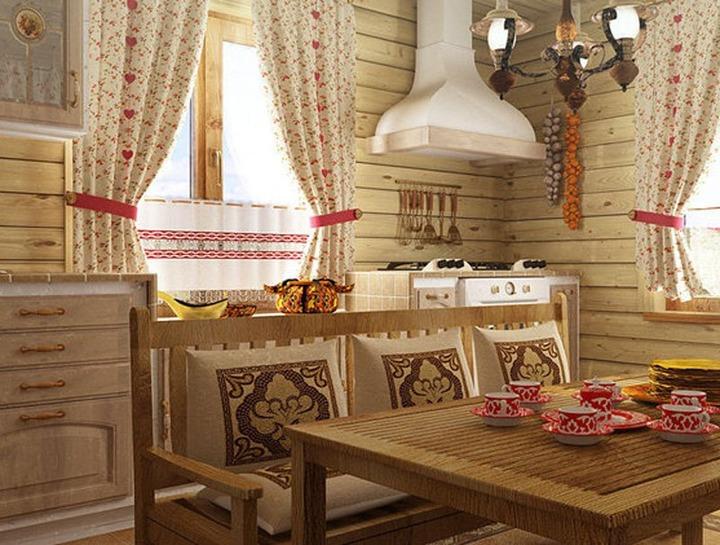 Текстиль для деревенского стиля кухни