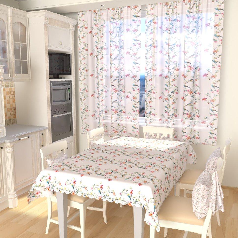 тюль для окна на кухне с цветочным принтом
