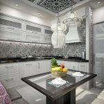 черно-белая угловая кухня в этническом стиле