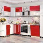 белый и красный цвета в интерьере кухни