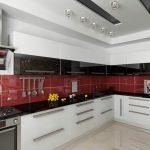 современная угловая кухня в стиле хай тек