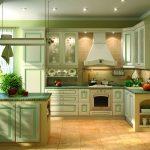 изящная светло-зеленая угловая кухня