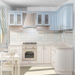 уютная светлая угловая кухня
