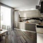 благородный серый цвет для угловой кухни