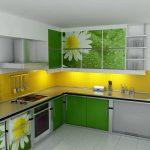 угловая кухня с рисунком ромашек