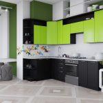 креативная кухня черного и зеленого цвета