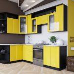 яркая угловая кухня желтого и черного цвета