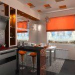 оранжевые тона на кухне