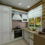 Белая кухня в доме из сруба