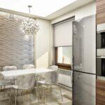 серый холодильник с белой мебелью
