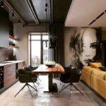 Черный потолок кухни лофт