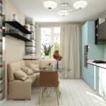 Дизайн светло-бирюзовой кухни