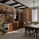 керамический пол на индустриальной кухне ретро