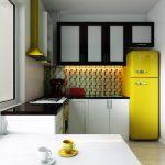 кухня в ретро стиле с желтым холодильником