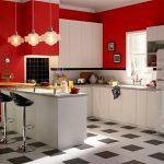 кухня в ретро стиле черного, белого и красного цветов