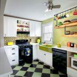 трехцветная кухня в ретро стиле