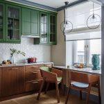 навесные зеленые шкафы для ретро кухни