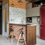 небольшая кухня в ретро стиле индустриальная