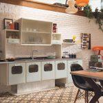 необычная форма мебели для ретро кухни