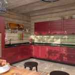 Интерьер красно-деревянной кухни