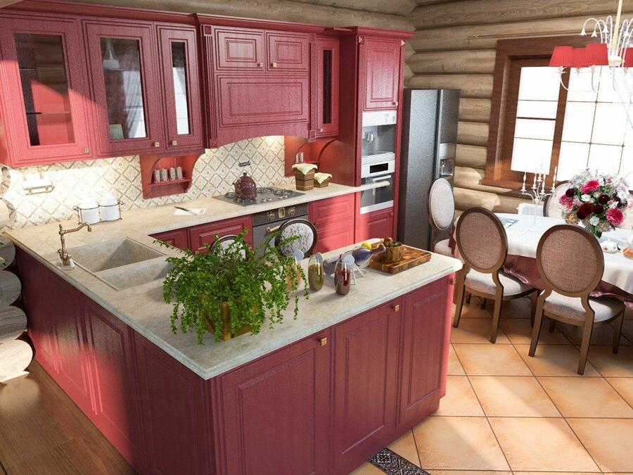Красная кухня в загородном доме