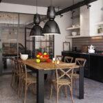 Кухни лофт со стёклами