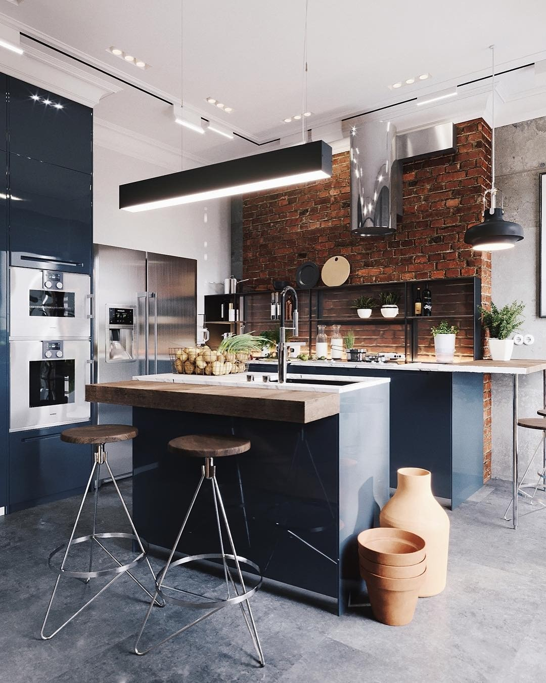 Кухни в стиле лофт фото для квартир