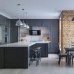 Кухни в стиле лофт с кирпичом серым