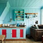 Кухня на даче в голубых тонах