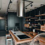 Кухня-остров гостиная лофт
