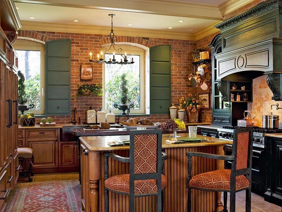 плита с вытяжкой для кухни в стиле ретро