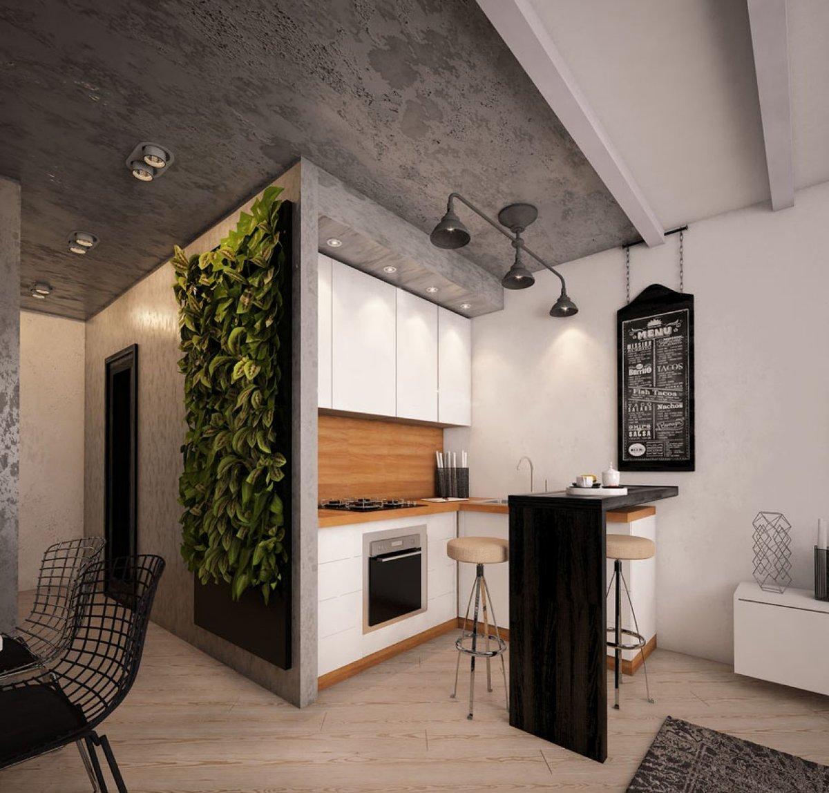 Кухня студия в стиле лофт