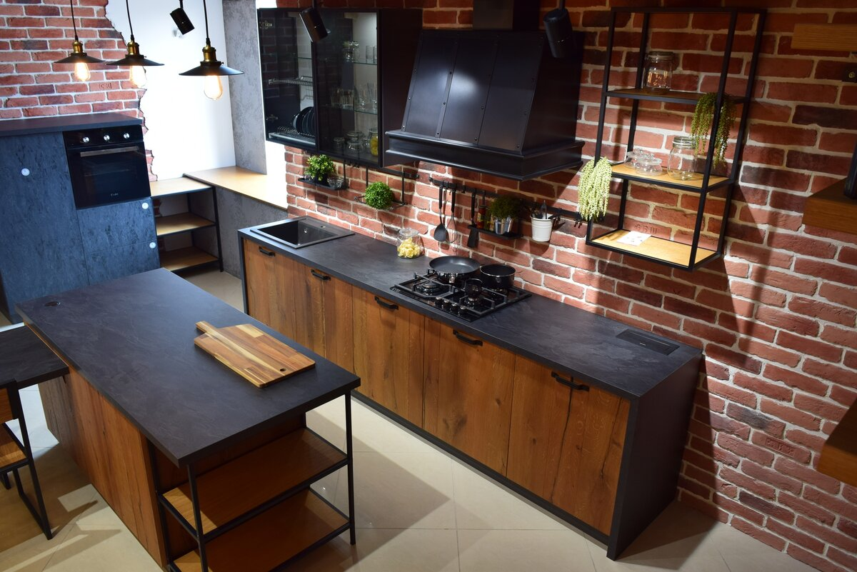 Кухонный гарнитур из дерева лофт