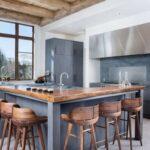 Кухонный остров серый и дерево