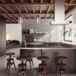 Кухонный островок в стиле лофт