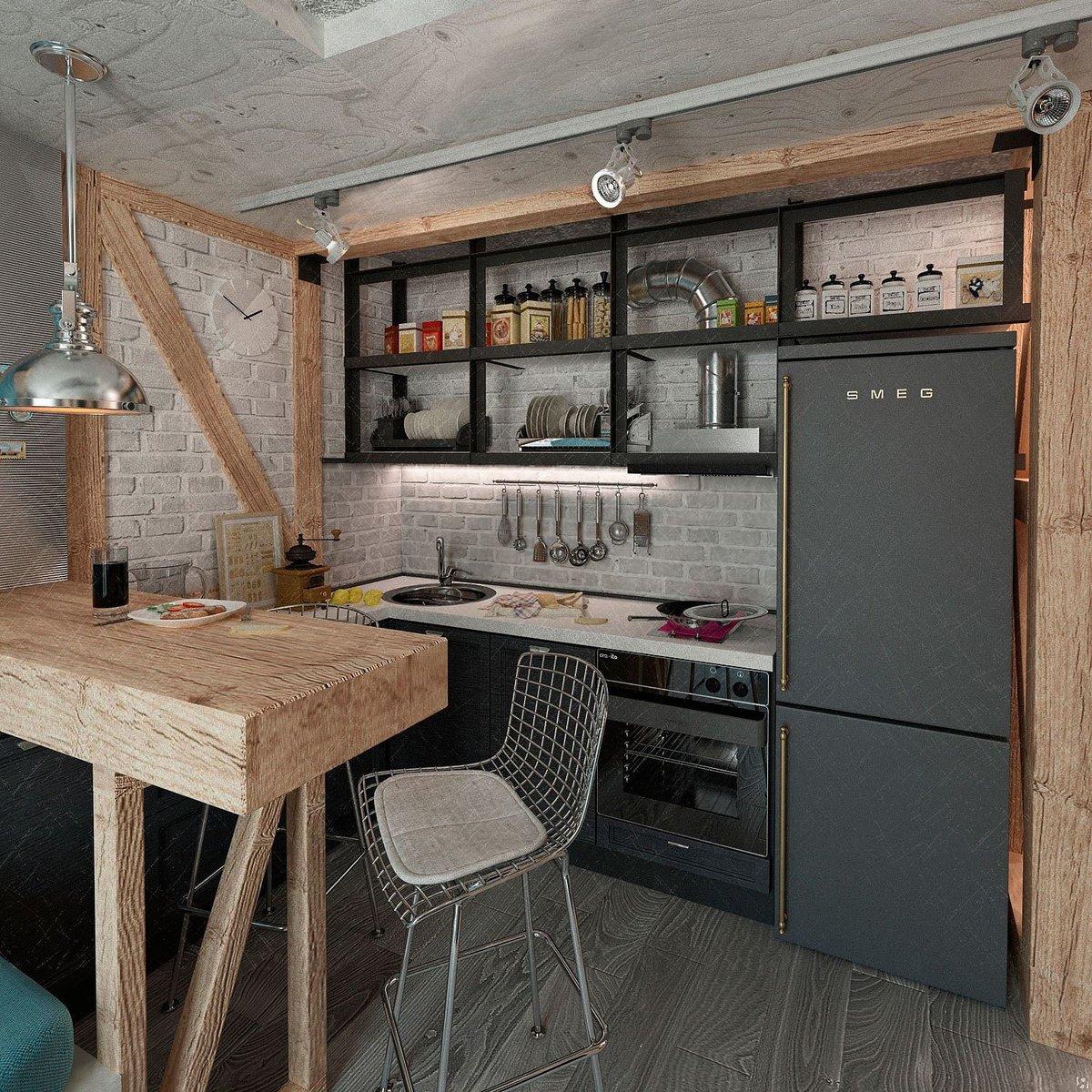 Небольшая кухня лофт