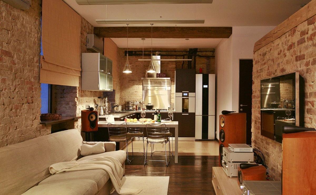 Открытая планировка кухни в стиле лофт