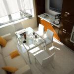 Планировка маленькой кухни с диваном