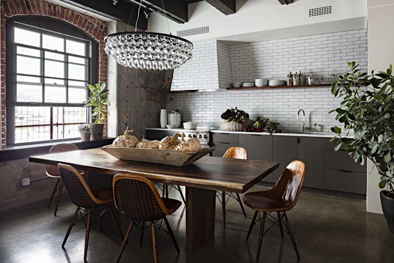 оформление ретро кухни в индустриальном стиле