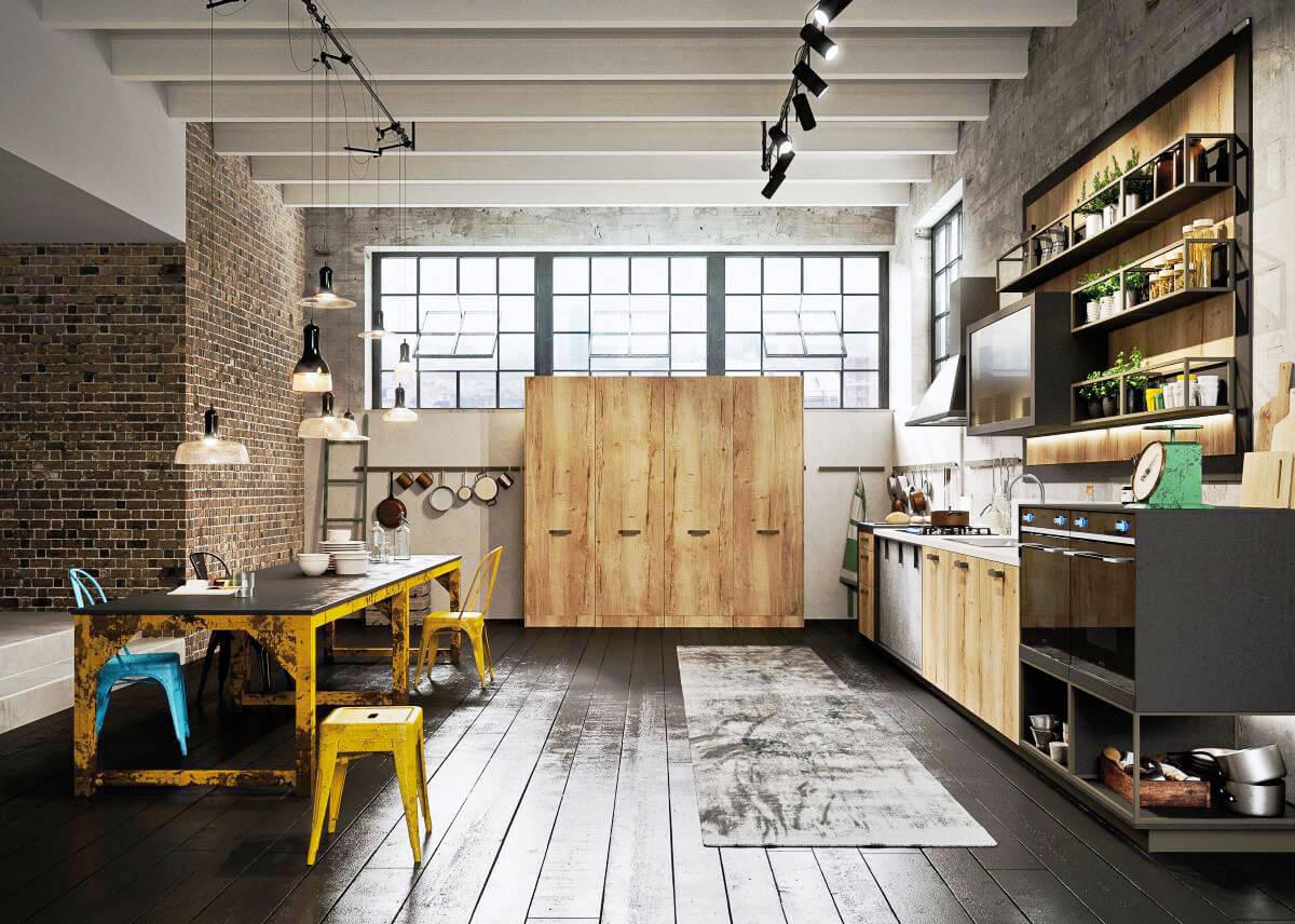 дизайн ретро кухни индустриального направления