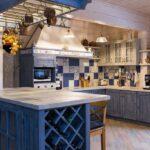 Синяя кухня Прованс из дерева