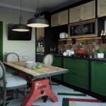 Темно зеленая кухня в интерьере