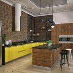 Зеленая кухня лофт