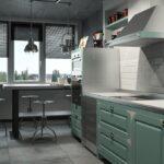 Зеленая кухня лофт в интерьере