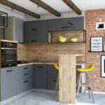 Желтая кухня в стиле лофт