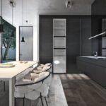 кухня минимализм с белыми стульями